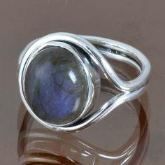 EXCLUSIVE 925 STERLING SILVER LABRADORITE NEW RING 4.60g DJR9105 SZ-6.25 #Handmade #Ring