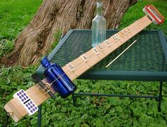 Homemade musical instrument - Diddly bow - precursor to the slide guitar