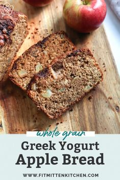 This Whole Grain Apple Bread is made with Greek yogurt, keeping the bread soft and moist. Use a gluten-free flour blend if needed! Apple Bread Recipe Healthy, Quick Bread Recipes, Apple Recipes, Healthy Breakfast Recipes, Fall Recipes, Healthy Baking, Baking Recipes, Healthy Snacks, Dinner Recipes