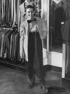 Jerome Mendelson Modeling the New Fashion, a Zoot Suit. Zazou StyleClochard