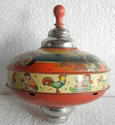 Huge Vintage Airplane, Train, Ship Litho Print Spinning Top Tin Toy, Germany picclick.com