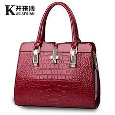 KLY ® 2015 new bright patent leather crocodile pattern shoulder portable  handbag European style handbag df14526a3b6fc