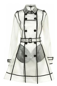 PVC Plastic Transparent Trench Raincoat dress Coat Clear with ...