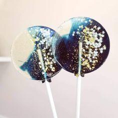 Swirl Lollipops, Sweet Caroline, Edible Glitter, Classic Gold, Sugar Art, Hard Candy, Silver Stars, Unique Gifts, Dark Navy