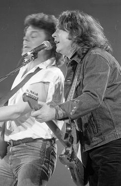 Rory Gallagher on stage during the Self-Aid benefit concert in the RDS,1986♥