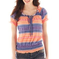 jcpenney - Self Esteem® Knit Peasant Top - jcpenney College Girl Fashion, College Girls, Peasant Tops, All Brands, Self Esteem, Tie Dye, Knitting, Shirts, Clothes