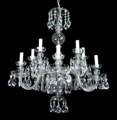 Czech crystal chandelier c1950 chandeliers antiquelighting antique crystal chandelier light waterford style vintage rewired victorian glass 159500 aloadofball Images