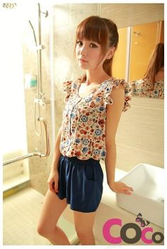 Beige Floral Print Asian Fashion Playsuit With Short Frilled Sleeves