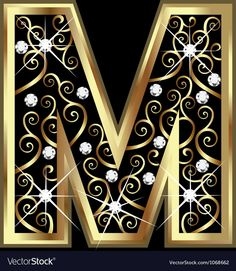 M gold letter with swirly ornaments Royalty Free Vector , Alphabet Wallpaper, Name Wallpaper, Gold Letters, Monogram Letters, Mickey Mouse Decorations, Diamond Vector, Alphabet Images, Celebration Background, Flower Logo