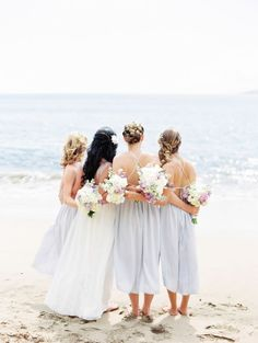Beachy blue bridesmaid dresses: http://www.stylemepretty.com/destination-weddings/2015/12/22/intimate-maui-wedding/ | Photography: Christie Graham - http://www.christiegraham.ca/: