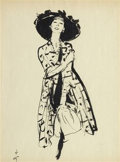 René Gruau 1909 - 2004 Gruau's fluid line, bold use of colour, composition and psychology make his work stand out. He is undoubtedly the best fashion artist of the mid century; he was without peers Dior Fashion, Fashion Art, Vintage Fashion, Fashion Design, Fashion Illustration Vintage, Illustration Sketches, Fashion Illustrations, Lifestyle Illustrations, Jacques Fath