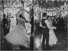 Beautiful black and white #wedding shots by Alexa Loy of a first dance at the Barns Hotel, under a canopy of festoon lights & bunting