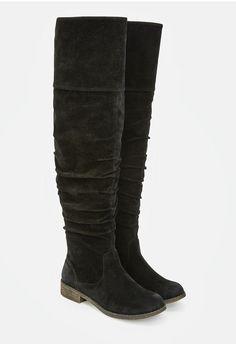Vous allez adorer ces bottes hautes imitation daim avec effet froissé au niveau…