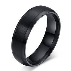 JYKKA BASIC 6mm Black Titanium Ring Brushed Center Wedding Band Comfort Fit - http://www.jewelryfashionlife.com/jykka-basic-6mm-black-titanium-ring-brushed-center-wedding-band-comfort-fit/