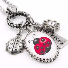 Ladybug Necklace, Silver Ladybug Jewelry, Lady Bug Charms - Blackberry Designs Jewelry