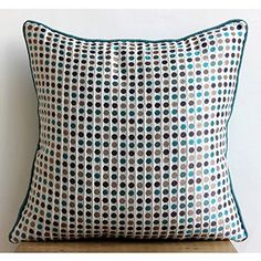 Retro Dots - 18x18 inches Square Decorative Throw Pillow Covers in Silk Jacquard Dotted fabric in Sea Green, Pearl Silver, Navy Blue and Beige Colors The HomeCentric http://www.amazon.com/dp/B00KU7RY6Q/ref=cm_sw_r_pi_dp_OKyoub08AEACX