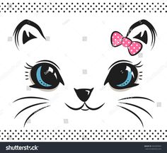 Cute baby cat face with bow on white isolated background illustration vector. Christmas Crafts For Gifts, Christmas Cats, Cat Face Drawing, Mean Cat, Baby Illustration, Cute Baby Cats, Cat Quilt, Cute Animal Drawings, Hand Art