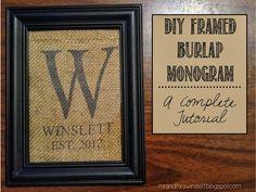 DIY Framed Burlap Monogram - an easy and complete tutorial. SO CUTE! #burlap #monogram #home #decor #mrandmrswinslett