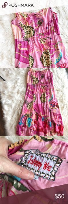"""Johnny Was Floral Midi Sundress Excellent used condition Johnny Was Floral Midi Sundress. Adjustable straps and ties at waistline. Size large.  Length - 40-43"""", bust - 19.5"""", waist- 18"""". Johnny Was Dresses Midi"""