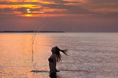 Taking a bath - Sunset Baltic Sea