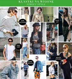 Klasyki na wiosnę - płaszcz trencz, bluzka w paski marynarskie, apaszka jedwabna, kurtka dżinsowa, nude szpilki, mokasyny Street Style, Fashion, Moda, Urban Style, Fashion Styles, Street Style Fashion, Fashion Illustrations, Street Styles, Street Fashion