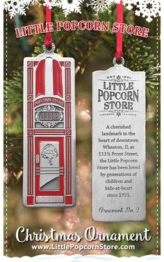 Rekindle childhood memories with your own Little Popcorn Store pewter Christmas ornament – the perfect conversation starter for sharing memories with family and friends. Every family has a story – so share yours! After all, Christmas is family time, and the happiest of holidays are filled with sharing stories and reconnecting with those you love. Popcorn Store, Heart For Kids, Childhood Memories, Illinois, Pewter, Conversation, Things To Do, Holidays, Christmas Ornaments