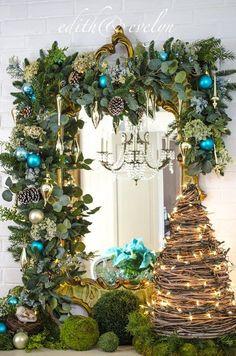 christmas A Blue Christmas Um Natal Azul Turquoise Christmas, Peacock Christmas, Green Christmas, Christmas Home, Christmas Holidays, Victorian Christmas, Vintage Christmas, Southern Christmas, Natural Christmas