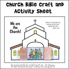 Sunday School Bible Craft We Are the Church Activity Sheet - Would be cute with class photo inside. Could still do stained glass windows we've always done. Sunday School Projects, Sunday School Kids, Sunday School Activities, Church Activities, Bible Activities, Sunday School Lessons, Easter Activities, Bible Story Crafts, Bible School Crafts