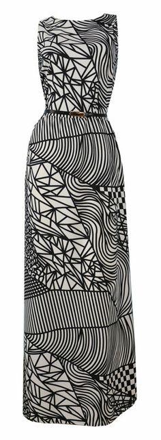 f77f1136d257e8 Black White Graphic Art Deco Print Maxi Dress + Belt  Isabel  Size 10 New