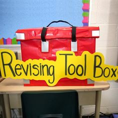 Writing This is a revising tool box. Inside are things that can help make revising work fun like special revising pens and sticky notes.
