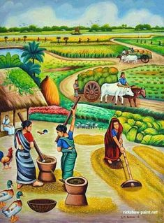 village painting pictures  Indian village painting calendar | Art | Pinterest | Paintings ...