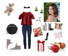 """Teen outfit for Christmas"" by chictochicfashionista ❤ liked on Polyvore featuring Anna October, Anissa Kermiche, Betsey Johnson, Rodial, Ilia, Bdellium Tools and Carolina Herrera"