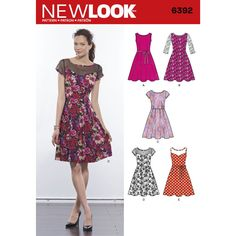 With this dress pattern, you have the option to make a pleated full skirt dress with lace overlay and three-quarter sleeves, dress with contrast sheer yoke, or dress in one fabric. Pattern includes tie belt. New Look sewing pattern.