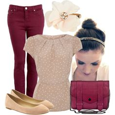 A fashion look from November 2012 featuring polka dot peplum top, highwaist jeans and proenza schouler wallet. Browse and shop related looks. Red Pants, Fashion Outfits, Womens Fashion, Fashion Ideas, Fashion Lookbook, Autumn Winter Fashion, Winter Style, Dress To Impress, What To Wear