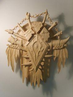 Carved Horde Crest - Horda Warcraft Art, World Of Warcraft, Bone Weapons, Voodoo Halloween, For The Horde, Wow World, Nerd Cave, Fanart, Wood Carving Designs