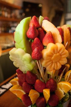 Fruit bouquet!  How did they do that????