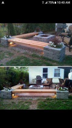 Patio is also an important component part of your summer life. Just think how cool and cosy it is that play with your families or entertain guests in a beautiful patio with flowers and trees! So it's time to upgrade your patio. It's not difficult. Diy Patio, Backyard Patio, Backyard Landscaping, Landscaping Ideas, Patio Bench, Backyard Fireplace, Diy Bench, Backyard Seating, Bench Seat