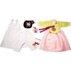 Light Green and Light Pink - Girl Dol Hanbok Set - 7 Pieces