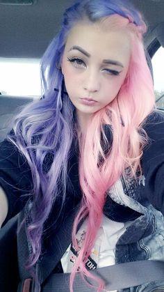 Half pink half purple pastel hair