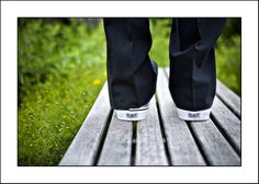 Put the wedding date on the back of the guys shoes!