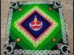 Colorful Rangoli Designs, Rangoli Designs Diwali, Rangoli Designs Images, Beautiful Rangoli Designs, Diya Rangoli, Indian Rangoli, Simple Rangoli, Easy Art, Simple Art