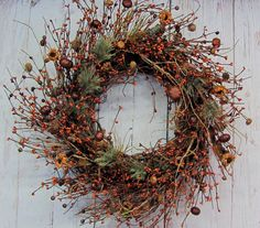 Rustic Fall Wreath  Pumpkin Pine & Berry Wreath  by Designawreath, $66.95
