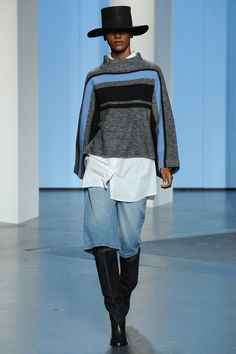Tibi | Fall 2014 - Tall dressy pionty toe boots with denim culottes. Baggy jumper over a shirt.