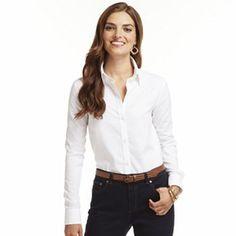 Chaps No Iron Broadcloth Shirt - Petite