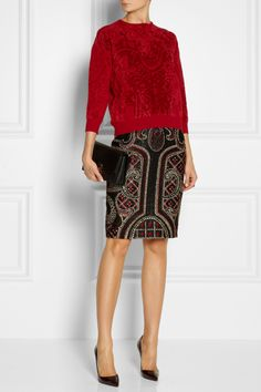 Alexander McQueen|Chenille-jacquard sweater|NET-A-PORTER.COM  Made in Italy from super soft chenille, Alexander McQueen's red top is the ultimate luxe sweater. The stylized knitted jacquard lends this plush pullover added depth and dimension. Wear it with a pencil skirt or skinny jeans.