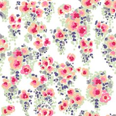 Designer watercolor floralfabric inpinks, red, green, gray, purple,  peach, and white.  Printed on 100% Kona cotton fabric, made from ring-spun yarn  3.2 oz per square yard Thread count: 78 x 76 Appropriate for quilting, appliqué, shirting, dresses, children's clothing,  and home decor. E