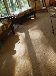 Energy-Efficient Decorations for Home: Wool carpet w/ thick pad is insulator that prevents heat loss in winter & gain in summer. Area rugs can be replaced w/ cool grass mats in hot weather or removed. Cork/linoleum tiles are natural insulators. Southern or SW windows use tile, stained/patterned concrete, or brick flooring directly in front as thermal mass absorbs sun's heat during day & releases it in evenings. Light-colored paint on ceiling & walls will reflect light down to thermal mass.