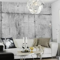 Modern Wallpaper Patterns Creating Realistic Concrete Wall Design - - Modern wallpaper designs with decorative concrete look is one of latest trends in wallpapers. Resource Furniture, Design Salon, Deco Design, Design Trends, Design Ideas, Lamp Design, Lighting Design, Design Design, Kitchen Decorating