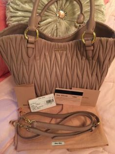 fbe5d6b8e9d3 Details about NWT Authentic Miu Miu Matelasse Secchellio in neutral Cameo  (blush beige)