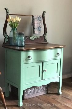 Antique Wash Stand Goes From Ready For The Dump To Farmhouse Chic Wash Stand Makeover Dixie Belle Mint Julep Green Painted Furniture, Refurbished Furniture, Paint Furniture, Repurposed Furniture, Rustic Furniture, Furniture Makeover, Vintage Furniture, Modern Furniture, Home Furniture